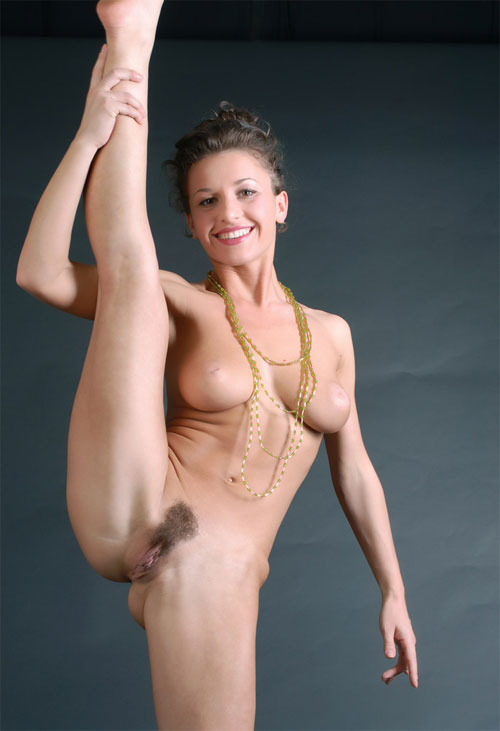 Sey Cutie With Hairy Pussy In Splendid Naked Gymnastics